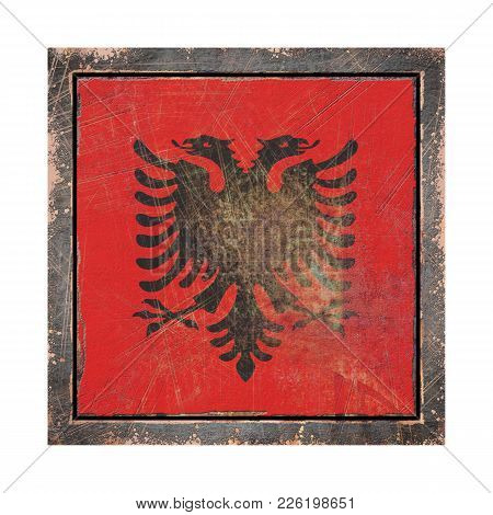 3d Rendering Of An Albania Flag Over A Rusty Metallic Plate Wit A Rusty Frame. Isolated On White Bac