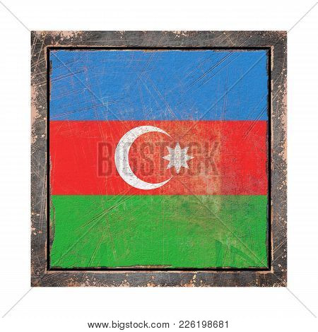 3d Rendering Of An Azerbaijan Flag Over A Rusty Metallic Plate Wit A Rusty Frame. Isolated On White