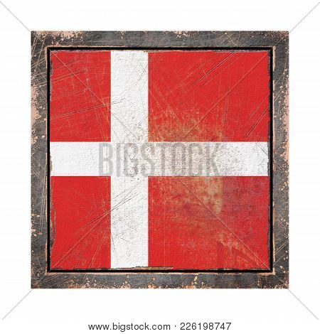 3d Rendering Of A Denmark Flag Over A Rusty Metallic Plate Wit A Rusty Frame. Isolated On White Back
