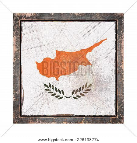 3d Rendering Of A Cyprus Flag Over A Rusty Metallic Plate Wit A Rusty Frame. Isolated On White Backg