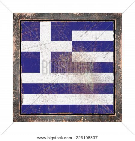 3d Rendering Of A Greece Flag Over A Rusty Metallic Plate Wit A Rusty Frame. Isolated On White Backg