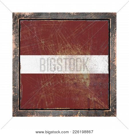 3d Rendering Of A Latvia Flag Over A Rusty Metallic Plate Wit A Rusty Frame. Isolated On White Backg