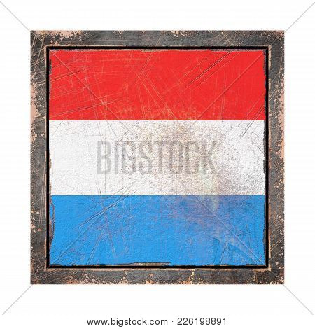3d Rendering Of A Luxembourg Flag Over A Rusty Metallic Plate Wit A Rusty Frame. Isolated On White B
