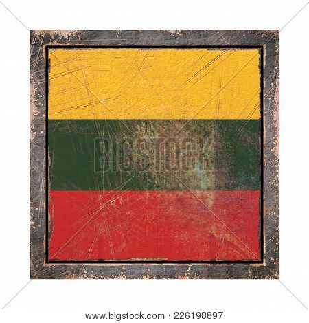 3d Rendering Of A Lithuania Flag Over A Rusty Metallic Plate Wit A Rusty Frame. Isolated On White Ba