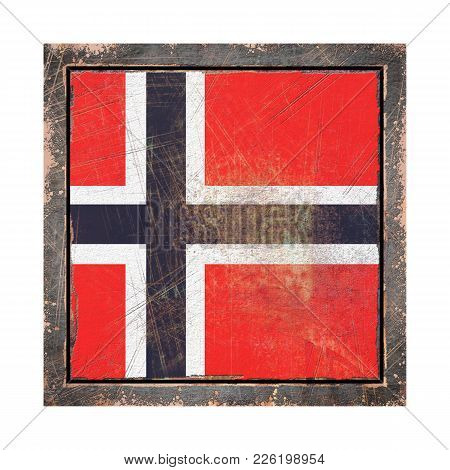 3d Rendering Of A Norway Flag Over A Rusty Metallic Plate Wit A Rusty Frame. Isolated On White Backg