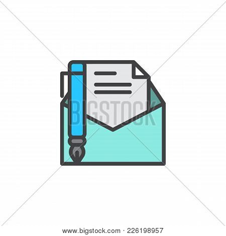 Write A Message Filled Outline Icon, Line Vector Sign, Linear Colorful Pictogram Isolated On White.