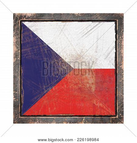 3d Rendering Of A Czech Republic Flag Over A Rusty Metallic Plate Wit A Rusty Frame. Isolated On Whi