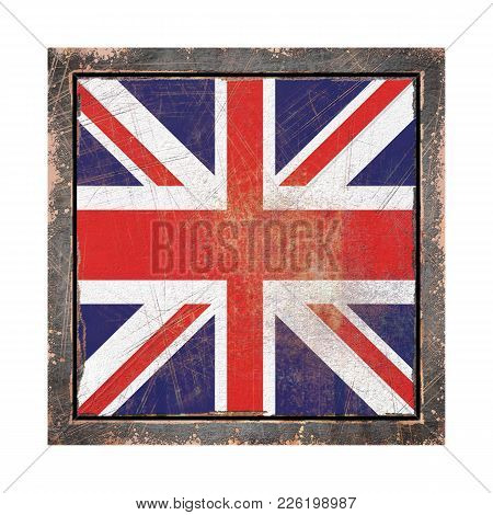 3d Rendering Of An United Kingdom Flag Over A Rusty Metallic Plate Wit A Rusty Frame. Isolated On Wh
