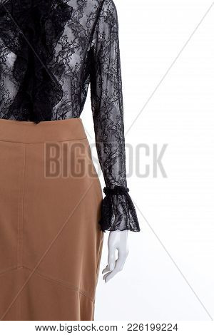 Elegant Blouse And Skirt, Copy Space. Black Lace Blouse And Brown Skirt, Cropped Image. Boutique Of