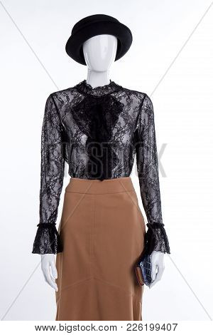 Hat, Blouse And Skirt On Mannequin. Female Mannequin With Lace Blouse, Skirt And Wallet. Black Hat A