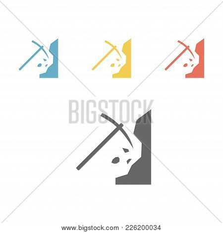 Digging Mountains. Extraction Of Rocks. Pickaxe And Stone Vector Illustration.