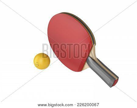Ping Pong Racket And Ball, Isolated On White Background. 3d Illustration