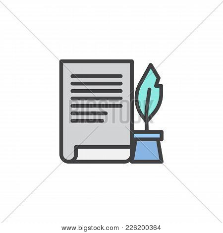 Ink Feather Pen And Scroll Paper Filled Outline Icon, Line Vector Sign, Linear Colorful Pictogram Is