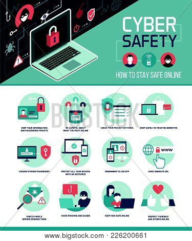 Cyber Safety Tips Infographic: How To Connect Online And Use Social Media Safely, Vector Infographic