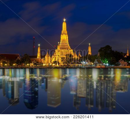Wat Arun River Side Reflect With Landscape Bangkok City, Abstract Photo