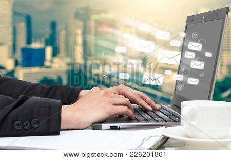 Businessman Hand Pressing The Keyboard For Sending The E-mail From Labtop Computer, Business Technol