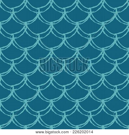 Fish Scale Seamless Pattern. Reptile, Dragon Skin Texture. Tillable Background For Your Fabric, Text