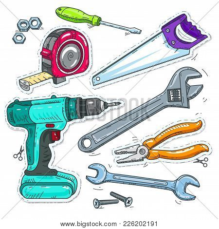Vector Illustration Sketch, Of Comic Style Icons, Set Of Carpentry Tools, Drill, Saw And Tape Measur