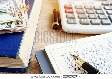 Accounting Book, Currency And Calculator. Home Finances.