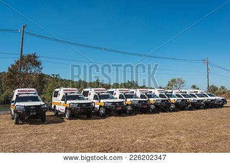 Nakhon Ratchasima, Thailand - December 23, 2017: Group Of Ambulance Cars Prepared For Emergency Serv