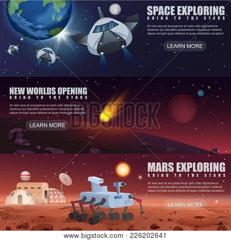Vector Illustration Banners Of Space Flight Spaceships Exploration, Alien Planets In Outer Space, Ga