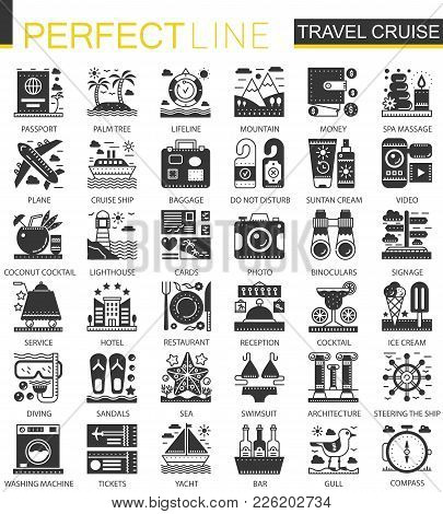 Travel Cruise Vacation Black Mini Concept Icons And Infographic Symbols