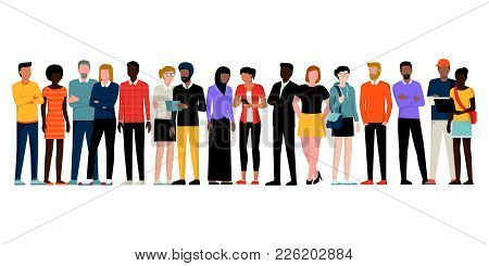 Multiethnic Group Of People Standing Together On White Background, Diversity And Multiculturalism Co