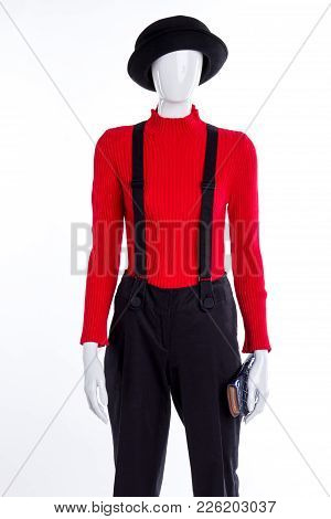 Black Hat And Trousers With Suspenders. Red Casual Sweater For Women. Fall Outfit Idea.