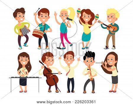 Schoolkids Playing Music On Stage. Children Musicians Performing Music Show. Musical Guitar And Musi