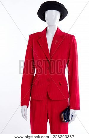 Black Hat And Red Suit For Women. Female Red Formal Style Suit And Black Accessories. Clothing For B