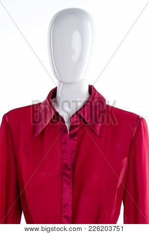 Beautiful Red Blouse For Women. Elegant Red Shirt For Women. Feminine Classy Attire.