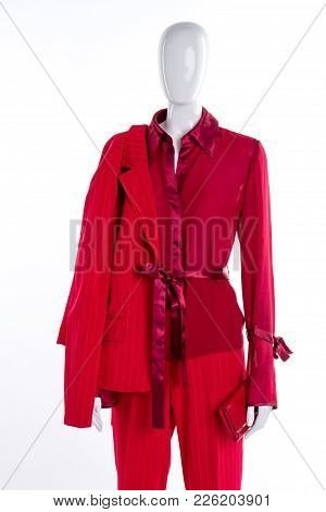 Red Blouse, Blazer And Trousers. Female Mannequin With Red Elegant Suit. Feminine Fashion And Style.