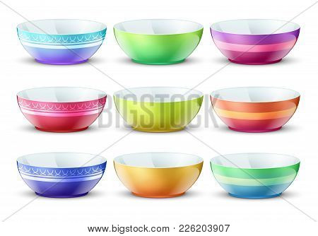 Colourful Empty Bowls Isolated. Porcelain Kitchen Food Plates Vector Set. Plate Porcelain Tableware,