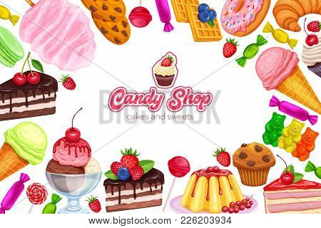 Vector Page Design Banner Confectionery And Sweets Icons. Donut And Cotton Candy, Muffin, Waffles, B