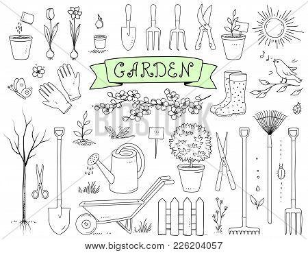 Hand Drawn Graphic Garden Tools Set On White