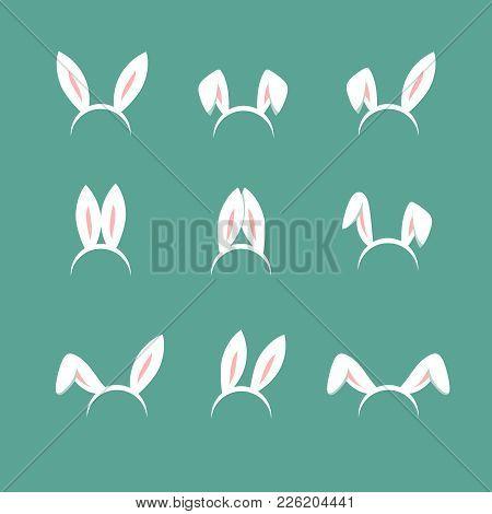 Easter Bunny Cartoon Ears, Celebration Mask Isolated Vector Set. Animal Bunny Cartoon, Rabbit Mask E
