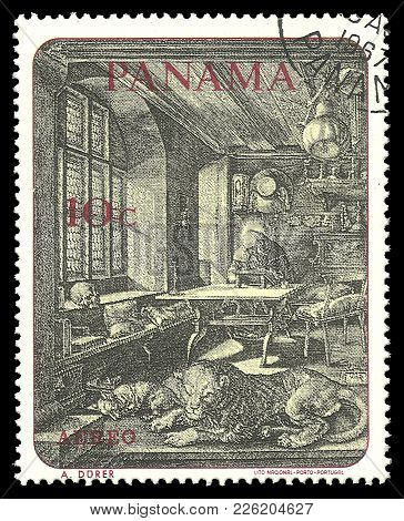 Panama - Circa 1967: Stamp Printed By Portugal, Color Edition On Art, Shows Painting Hieronymus By F