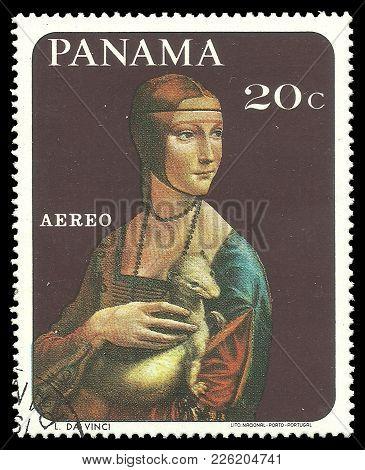 Panama - Circa 1967: Stamp Printed By Portugal, Color Edition On Art, Shows Painting Girl With Anima
