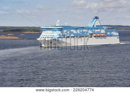 Cruise Vessel On The Finland Coastline. Aland Islands. Horizontal