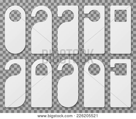 White Blank Hotel Room Door Hangers Vector Template Isolated. Empty Label Hanger On Door Hotel Room