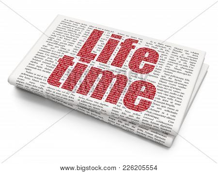 Timeline Concept: Pixelated Red Text Life Time On Newspaper Background, 3d Rendering