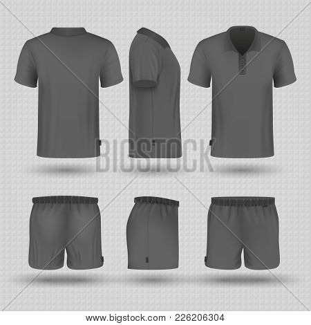 Soccer Black Sports Uniform. Male Shorts And T-shirt Front, Side And Back View Vector Mockup. Illust