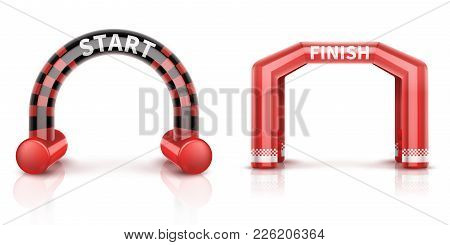 Inflatable Race Finish And Start Arch With Banner. Outdoor Event Balloon Archway Vector Illustration