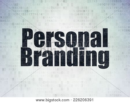 Marketing Concept: Painted Black Word Personal Branding On Digital Data Paper Background