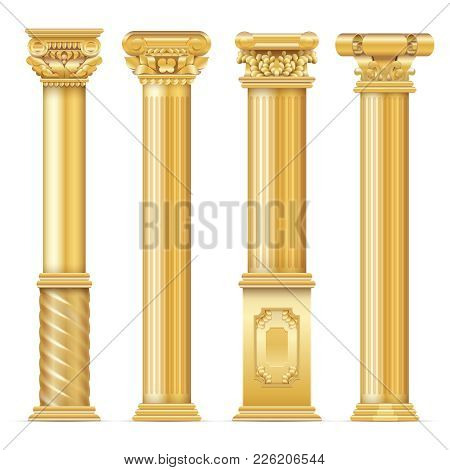 Classic Antique Gold Columns Vector Set. Illustration Of Architecture Column, Architectural Classic