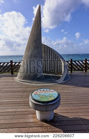 Eluanbi, Taiwan - October 31, 2017: Monument At The Southernmost Point Of Taiwanon On 31 October 201