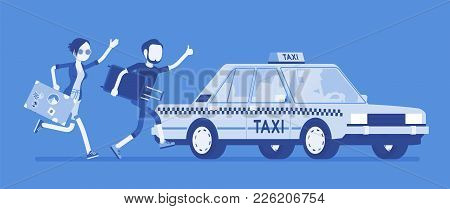 Chasing A Taxi Cab. Young Black Man And Woman With Luggage In A Hurry Running To Get A Car, Yellow P