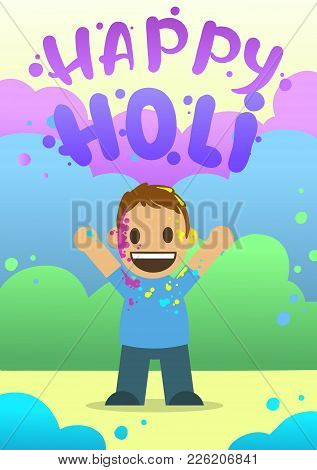 Poster For The Festival Of Colors Holi In Flat Style. Happy Boy Throw Paint. Vector Illustration.