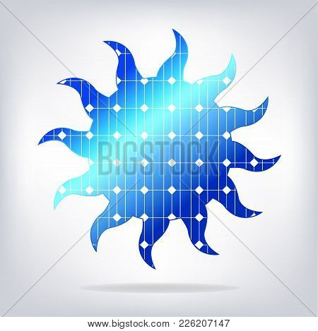 Sun With Solar Panels Texture. Vector Illustration