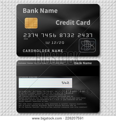 Realistic Black Bank Plastic Credit Card With Chip Vector Template Isolated. Credit Plastic Card, Ba